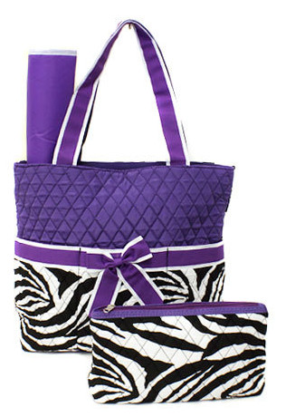 PURPLE ZEBRA DIAPER BAG SET