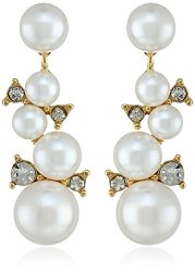 Gold-Tone Crystal Blanc Clustered Linear Drop Earrings